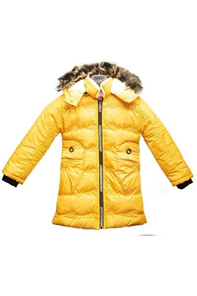 Kız Çocuk Mont Sarı Suni Kürklü Kapüşonlu Fermuarlı Şişme Su Geçirmez Bilen Mont