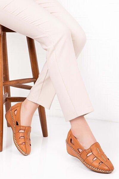 Kadın Taba Deri Ortopedik Taban Sandalet