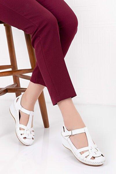 Kadın Beyaz  Deri Anatomik Taban Sandalet