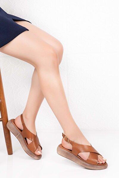 Kadın Taba Deri Anatomik Taban Sandalet