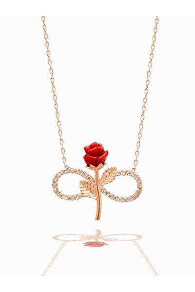 925 Ayar Gümüş Rose Kaplama Zirkon Taşlı Sonsuzluk Gül Model Kolye
