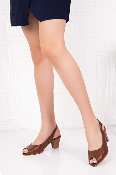 Kadın Kahverengi  Deri Topuklu Ayakkabı