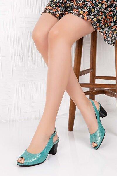 Kadın Yeşil Hakiki Deri Topuklu Ayakkabı 36 Şhn.0040
