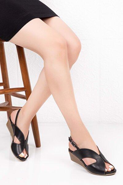 Kadın Siyah  Deri Anatomik Taban Sandalet
