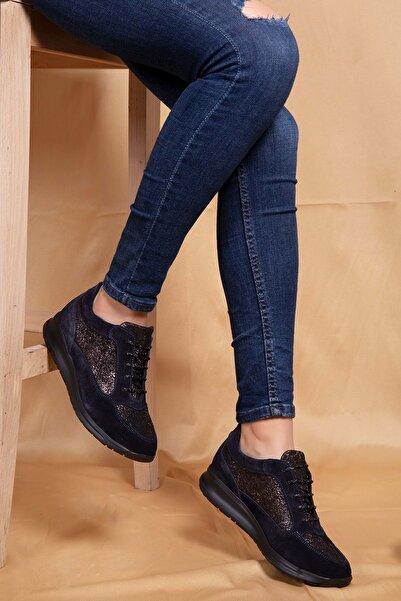 Kadın Lacivert  Deri Anatomik Hafif Taban Ayakkabı