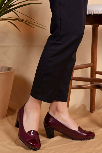 Kadın Bordo Petek Deri Topuklu Ayakkabı