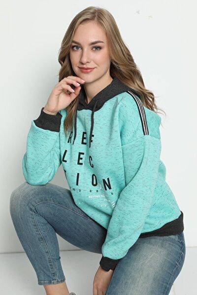 Kadın Yeşi  Kışlık Şardonlu Omuz Şerit Detaylı Yumuşak Sweatshirt