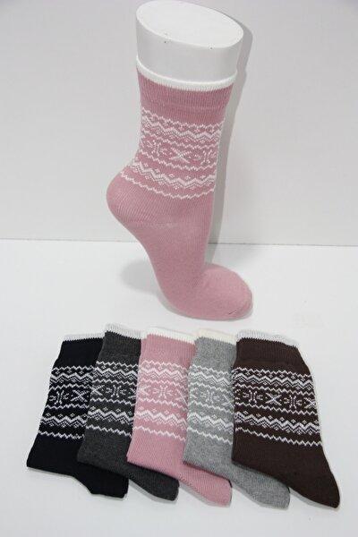 Kadın 6'lı Kalın Kilim Desen Kışlık Çorap