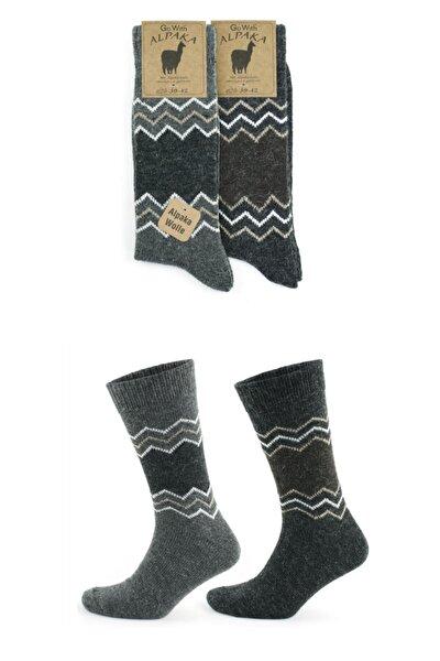 Alpaka Doğal Yün Termal Etkili Desenli Kışlık Çorap 2 Çift