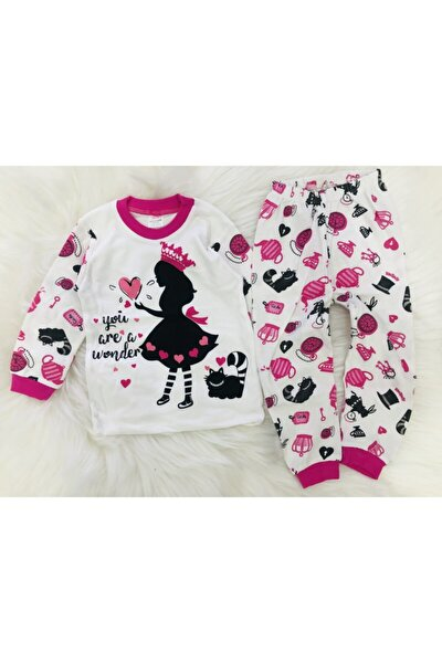 Kız Çocuk 1-2-3 Yaş Baskılı Pijama Takım