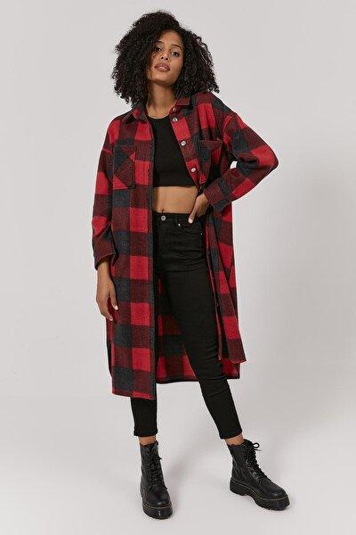 Kadın Ekoseli Uzun Oduncu Ceket Y20w110-5085