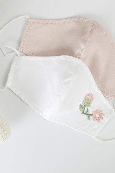Elegant Flower Pamuk Nakış Detaylı Maske 17x8 Cm Beyaz - Pembe