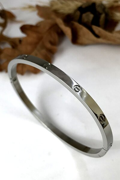 Ince Taşsız Cartier Paslanmaz Çelik Bayan Bileklik