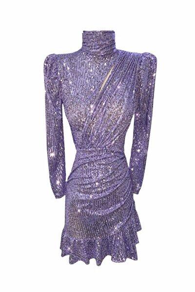 Payetli Fırfırlı Elbise Lila