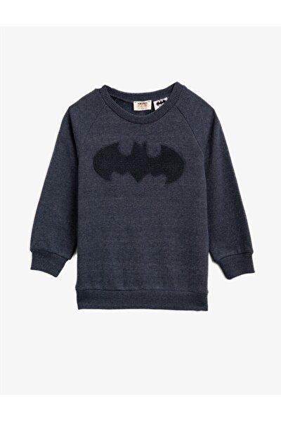 Erkek Çocuk Lacivert Batman Lisanslı İşlemeli Uzun Kollu Sweatshirt