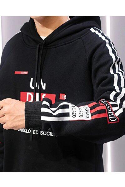 Unisex Siyah Kapüşonlu Baskılı Sweatshirt