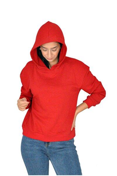 Kadın Kırmızı Kapüşonlu Sweatshirt