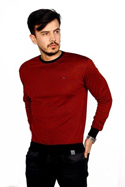 Erkek Bordo Bisiklet Yaka Mikro Polyester Likralı Sweatshirt