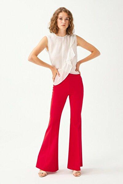 Kadın Kırmızı Yandan Fermuarlı Pantolon 15332127008006