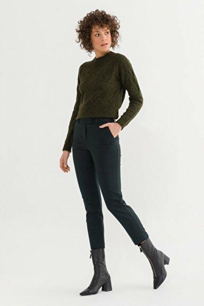 Kadın Yeşil Arkası Lastikli Pantolon 15332129010009