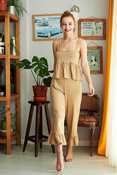 Kadın Hardal Rengi Askılı Pijama Takımı