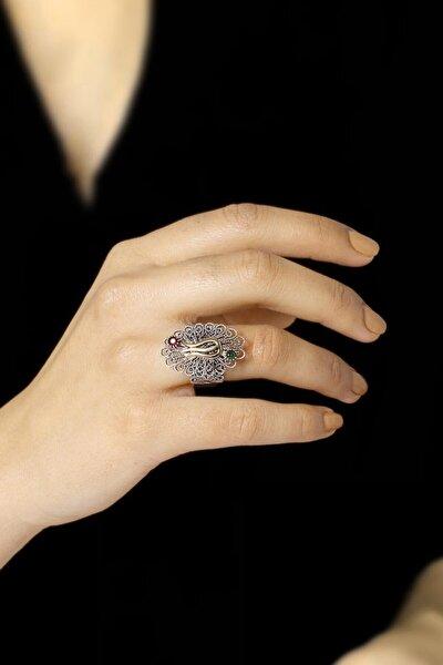 Kadın Laleli Telkari İşlemeli Gümüş Yüzük 2504