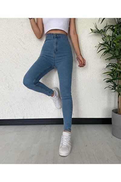 Kadın Lacivert Yüksek Bel Cepsiz Jean