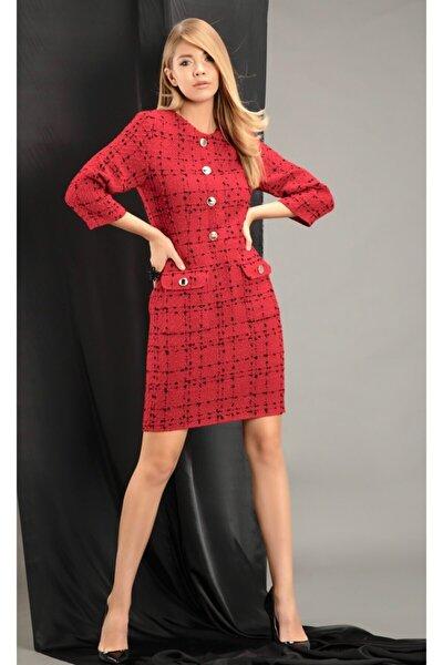 Kadın Kırmızı Kumaş Elbise