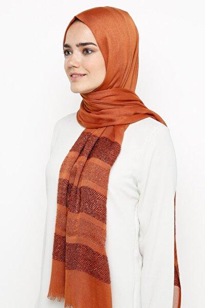 Kadın Kiremit Simli Paşmina Çavuş Desen Şal  991063