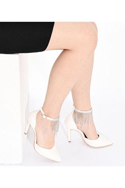 Kadın Beyaz Kyle Taş Püsküllü  Topuklu Ayakkabı