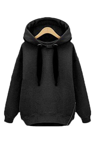 Kadın  Siyah Yeni Model Fermuar Detay Kapşonlu Sweatshırt