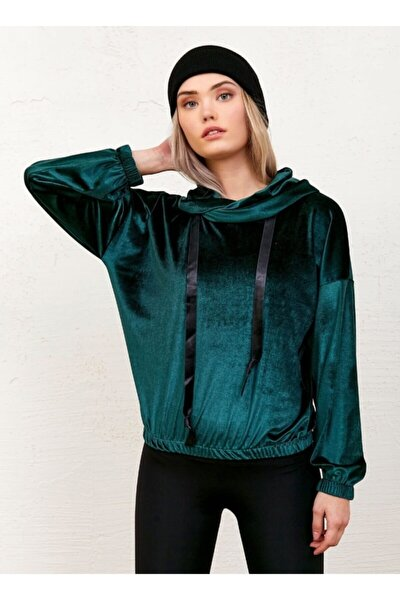 Kadın Yeşil Degaje Yaka Kadife Sweatshirt