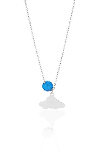 Kadın 925 Ayar Gümüş Mavi Akik Taşlı Bulut Kolye Alk1014