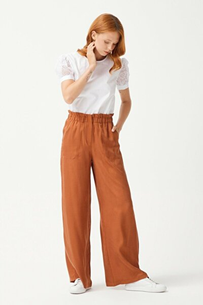 Kadın Tarçın Bol Paça Pantolon