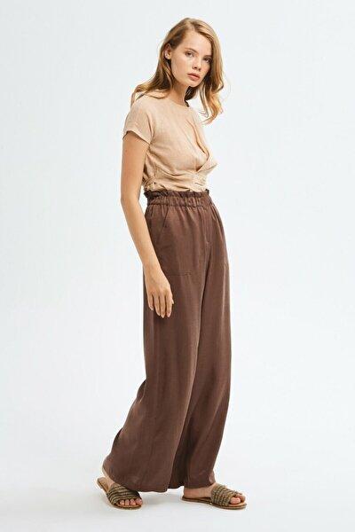 Kadın Kahverengi Bol Paça Pantolon