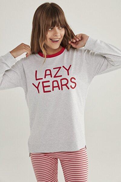 Kadın Gri Açık Gri Melanj Lazy Years Tişört