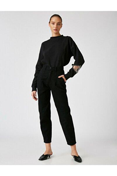 Kadın Siyah Arzu Sabanci For Pamuklu Mom Pantolon