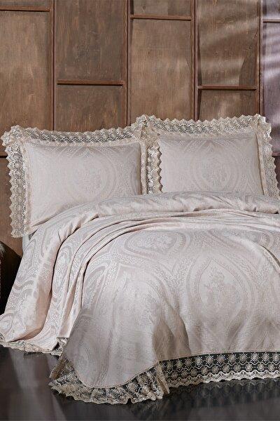 Kahverengi Bianca Çift Kişilik Yatak Örtüsü