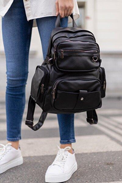 Kadın Siyah Yıkama Deri Sırt Çanta