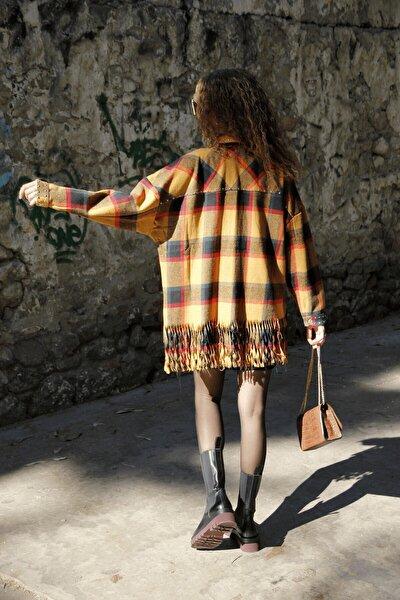 Kadın Turuncu Oduncu Model Ceket Gömlek
