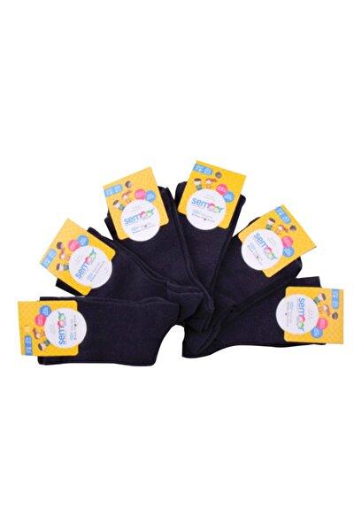 Çocuk Unisex Siyah Soket Çocuk Çorabı 6lı