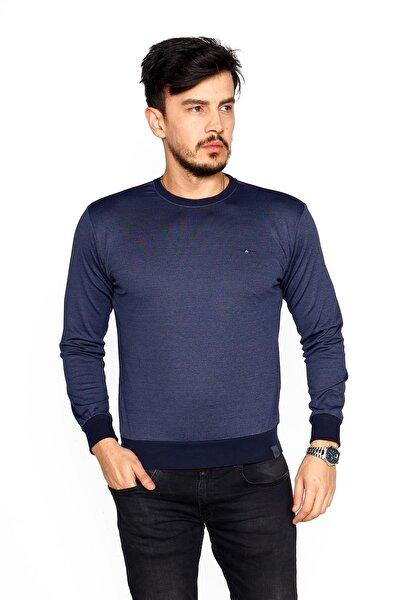 Erkek Indigo Bisiklet Yaka Mikro Polyester Likralı  Sweatshirt
