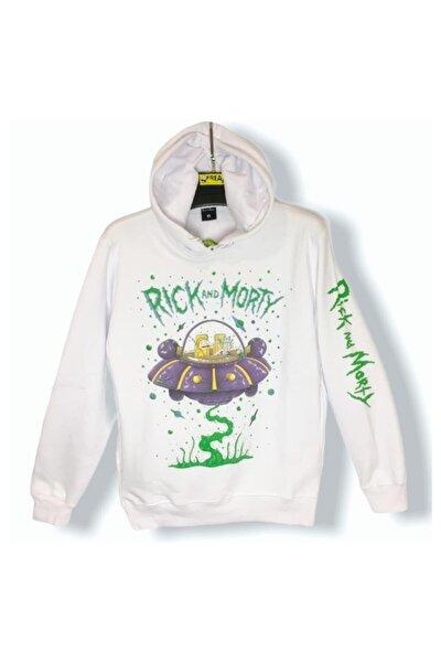 Unisex Beyaz Lisanslı Rick And Morty Sweatshirt