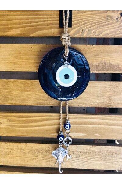 Nazar Göz Boncuğu Cam Makrome Örgü Fil,anahtar Ev Dekorasyonu Kapı Dekorasyonu