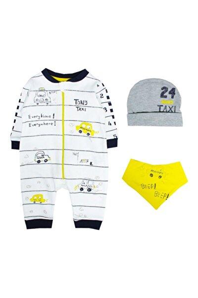 Erkek Bebek Sarı Taxi Fermuarlı Tulumu 2671