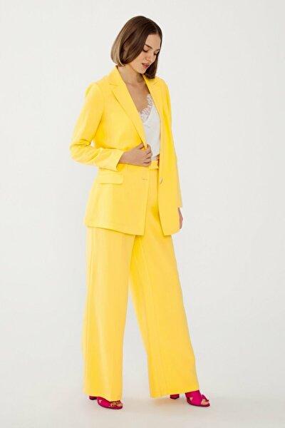Kadın Sarı Beli Lastikli Pantolon 15338560000004