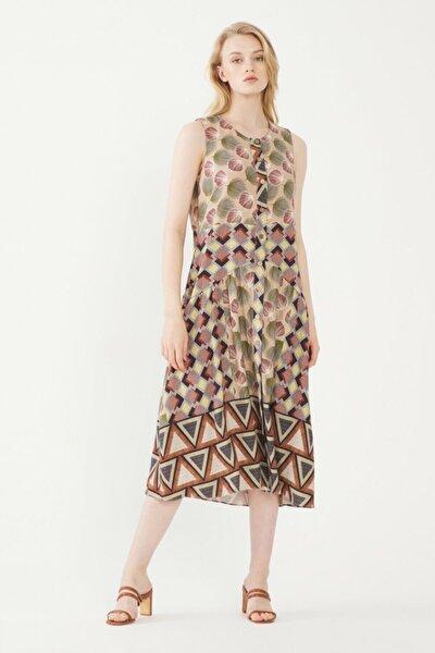 Kadın Camel Kolsuz Elbise