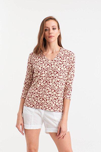 Kadın Bej Krem Çiçekli V Yakalı Bluz