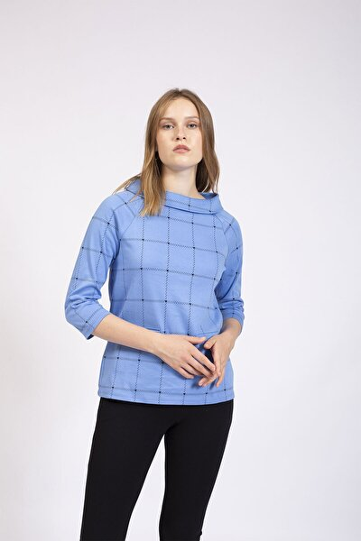 Kadın Mavi Bardot Yaka Çizgili Bluz