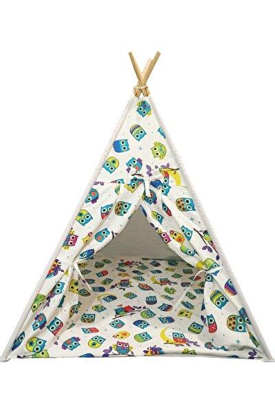 Kızılderili Saf Pamuklu Kumaş Ahşap Çocuk Oyun Çadırı
